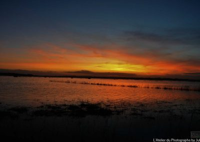 Soleil rouge sur les marais de la Taute