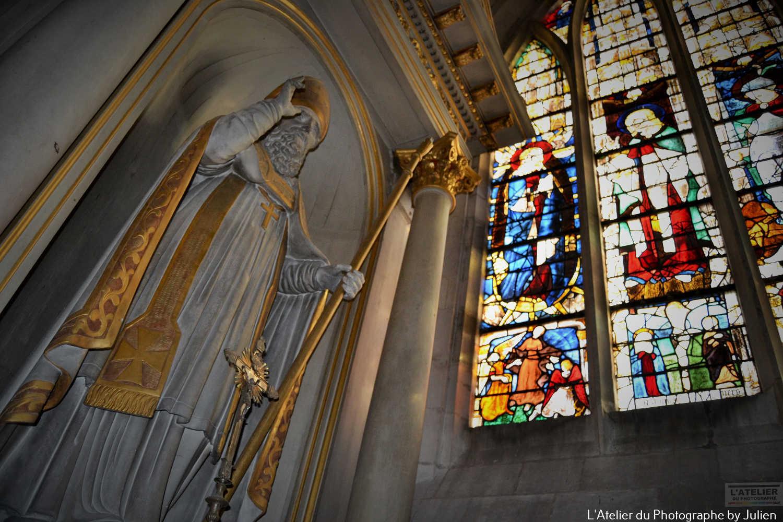 Statue de St Léon église Notre Dame Carentan